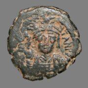 Half follis from Emperor Tiberius II Constantine 578-582AD