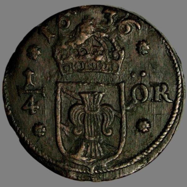 Sweden, ¼ øre 1636